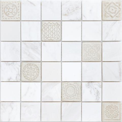 Мозаика LeeDo: Art Dolomiti bianco матовая 30х30х0,8 см (чип 48х48х8 мм)