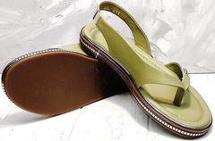 Кожаные женские шлепанцы босоножки на низкой подошве Evromoda 454-411 Olive.