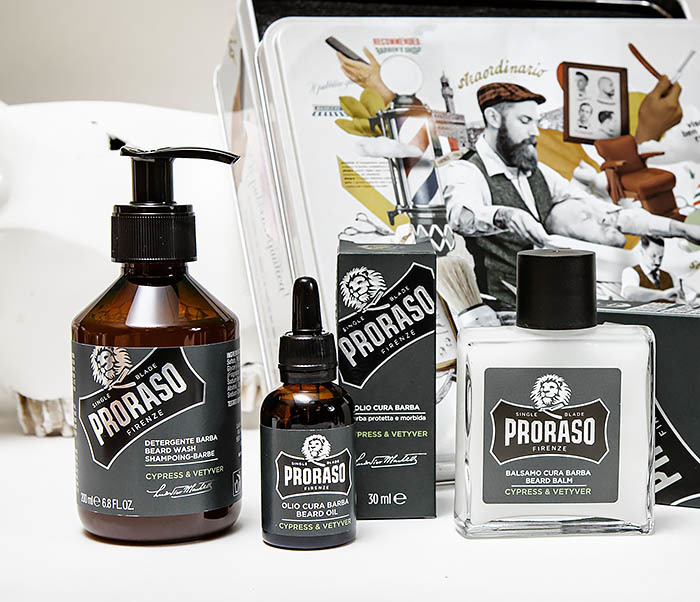 CARE142 Набор для бороды PRORASO «CYPRESS & VETYVER» шампунь, бальзам и масло