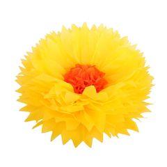 Бумажный цветок 40 см ярко-желтый+оранжевый