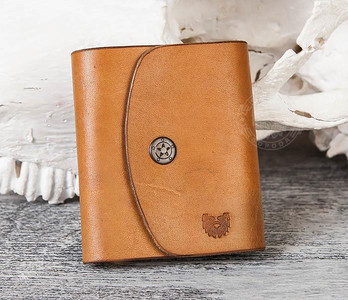 WB166-2 Коричневый кожаный маленький кошелек ручной работы фото 03