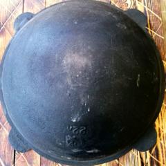 Узбекский чугунный казан 22л круглое дно (раковина)