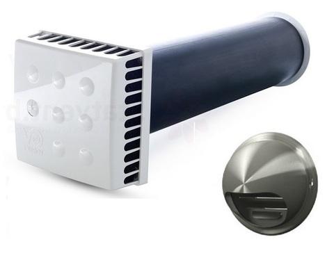 Приточный клапан KIV Quadro 125 0,5 м с выходом стенным из нержавеющей стали