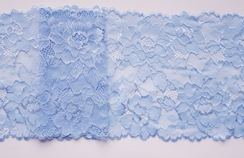Эластичное кружево, голубой, 19 см