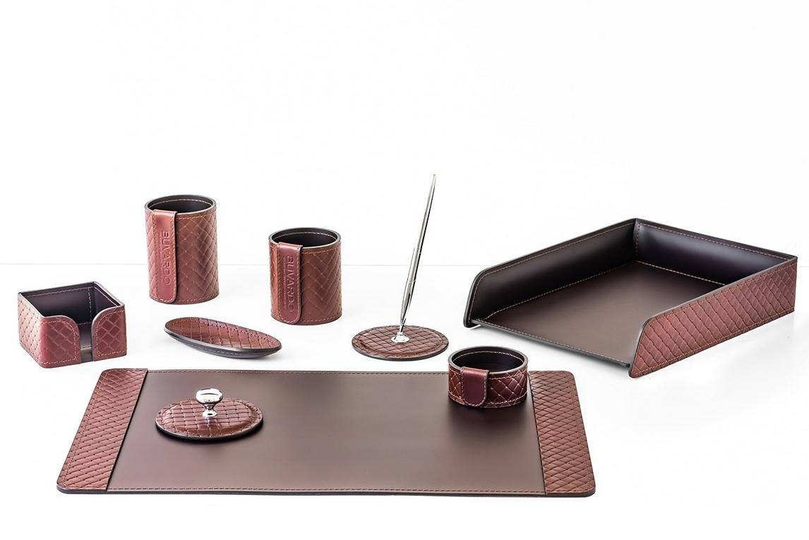 Настольный набор руководителя арт.2165-AK Brown/шоколад из 9 предметов