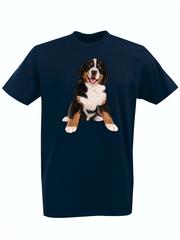 Футболка с принтом Собака (Dog) темно-синяя 006