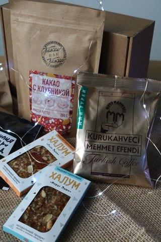 Подарочный набор с кофе, какао и полезными лакомствами