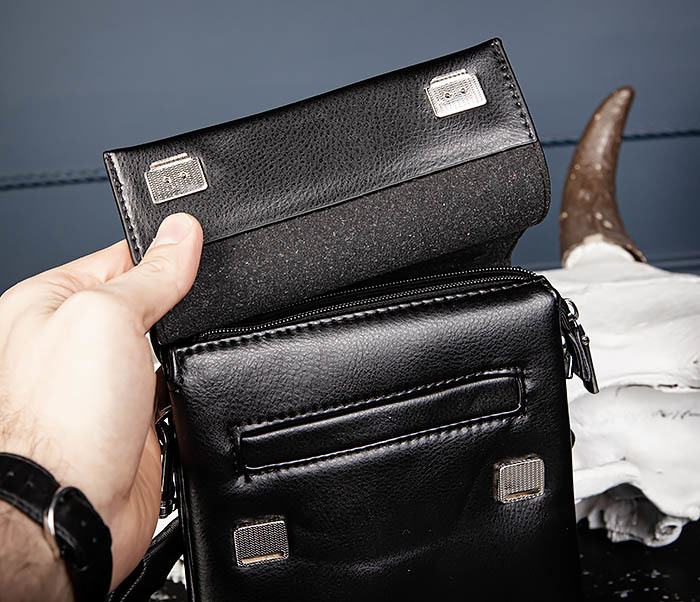 BAG560-1-3 Мужская кожаная сумочка с ручкой и ремнем фото 06