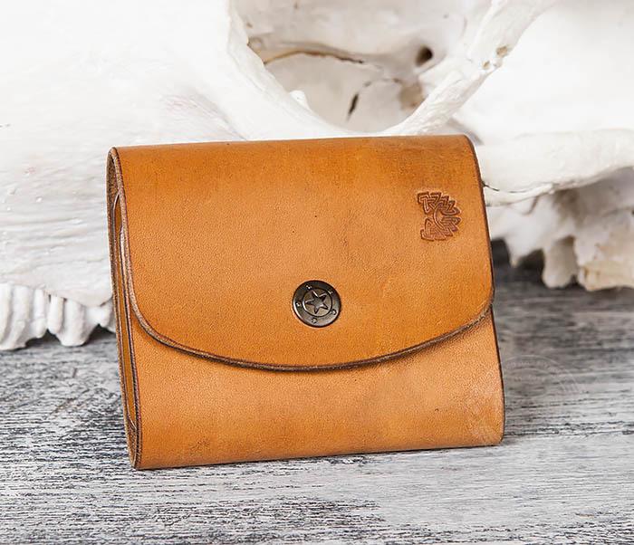 WB166-2 Коричневый кожаный маленький кошелек ручной работы фото 05