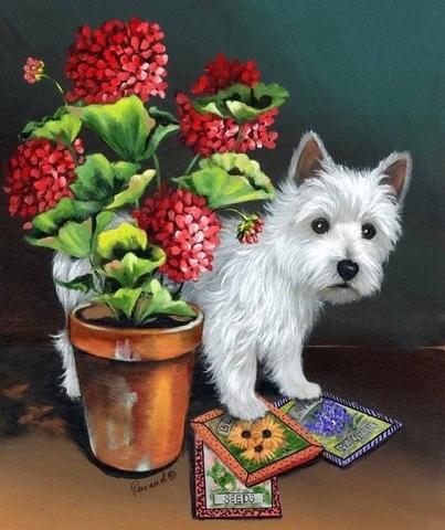 Алмазная Мозаика 40x50 Белоснежный щенок и открытки (арт. SGA2899 )