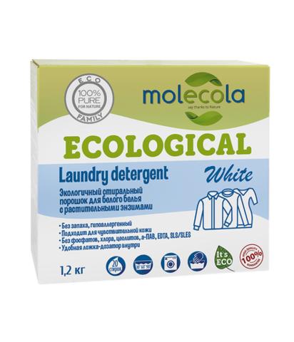 Стиральный порошок для белого белья с растительными энзимами Molecola, экологичный, 1,2кг