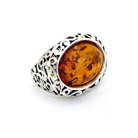серебряное кольцо с коньячным янтарём_фото