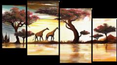 "Модульная картина""Два жирафа"""