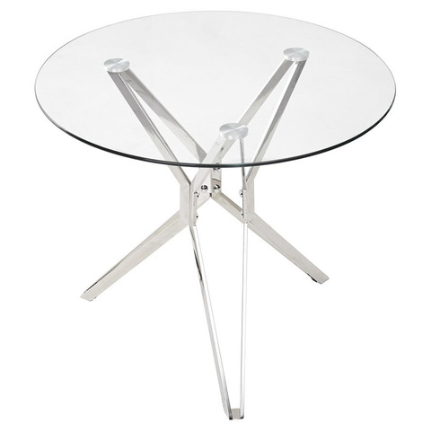 Стол RIGA / D90 / прозрачное стекло / опора хром