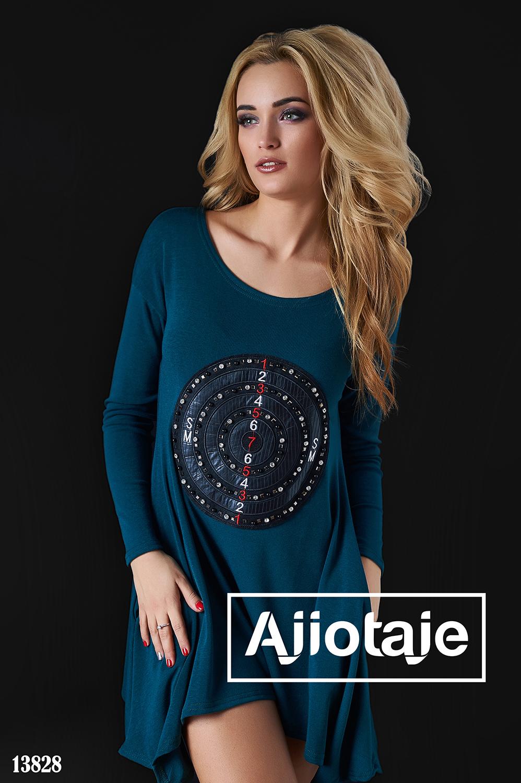 Платье-туника с асимметрией цвета морской волны