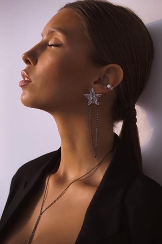 Серебряные ассиметричные фактурные серьги-звезды