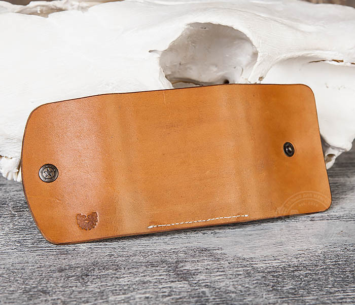 WB166-2 Коричневый кожаный маленький кошелек ручной работы фото 07