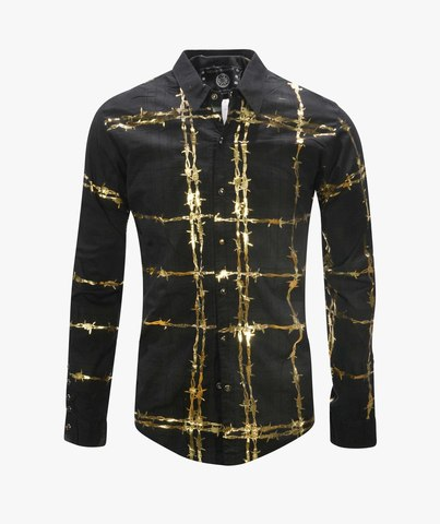 Рубашка The Saints Sinphony BARBED WIRE BUTTON UP BLACK-GOLD