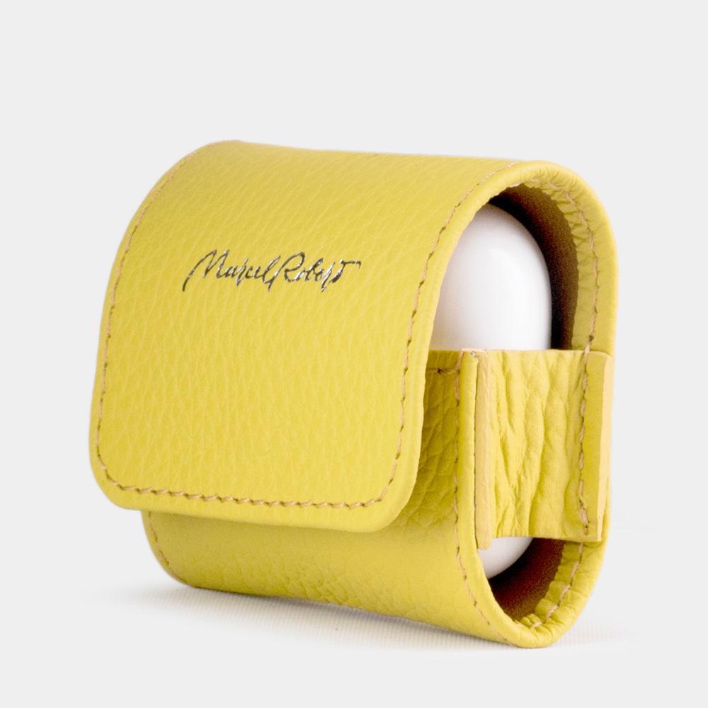 Чехол-держатель для наушников Grand Easy из натуральной кожи теленка, желтого цвета