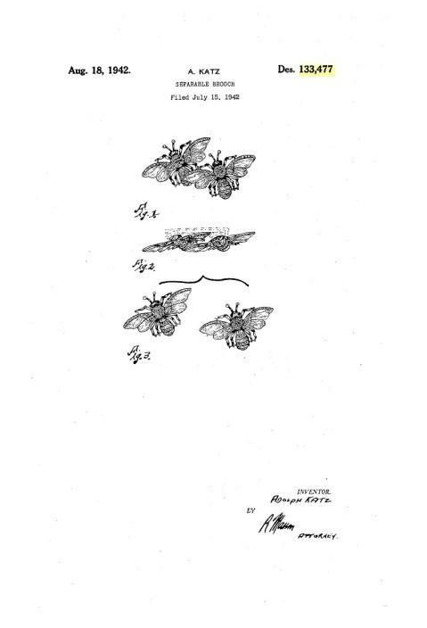 """Коллекционный комплект: брошь """"Королевские пчёлы"""" из серии Дуэты и клипсы «Королевские пчёлы»  Coro, 40-е гг."""