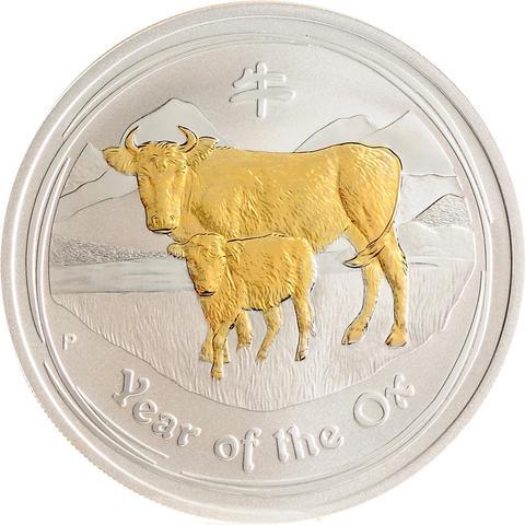 1 доллар. Год Быка. Австралия. 2009 г. (позолота)