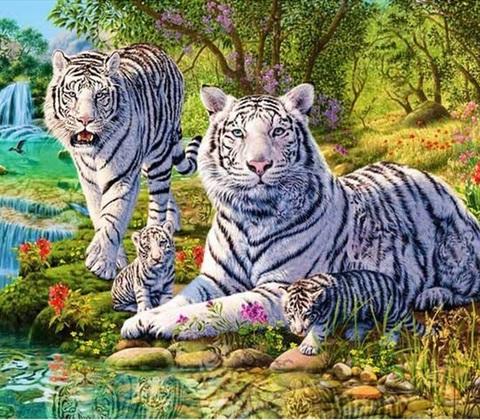 Алмазная Мозаика 30x40 Семейство белых тигров (арт. GB70159)