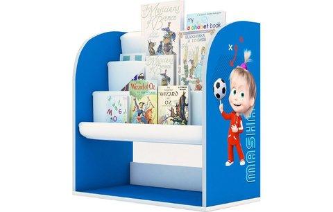 Стеллаж детский книжный Polini kids Fun 800 Маша и Медведь, с текстильными полками, синий