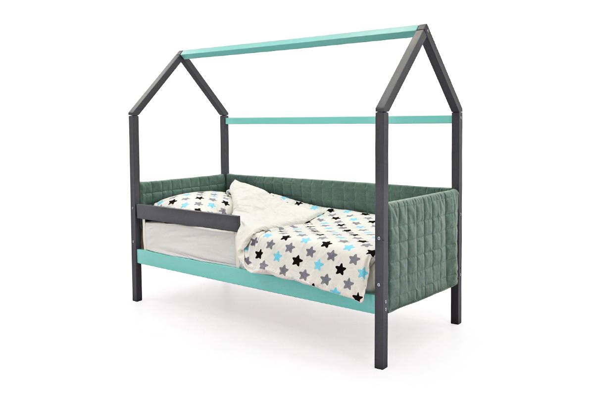 Кровать-домик мягкий «Svogen графит-мятный»