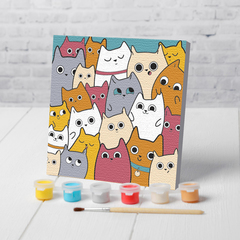 Картина по номерам. Веселые котята. 15*15 см