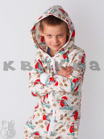 """Детский комбинезон Квокка хлопковый с начесом """"Снегири"""""""