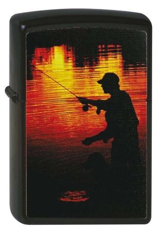 Зажигалка Zippo Рыбак, латунь с покрытием Black Matte, чёрная, матовая, 36x12x56 мм
