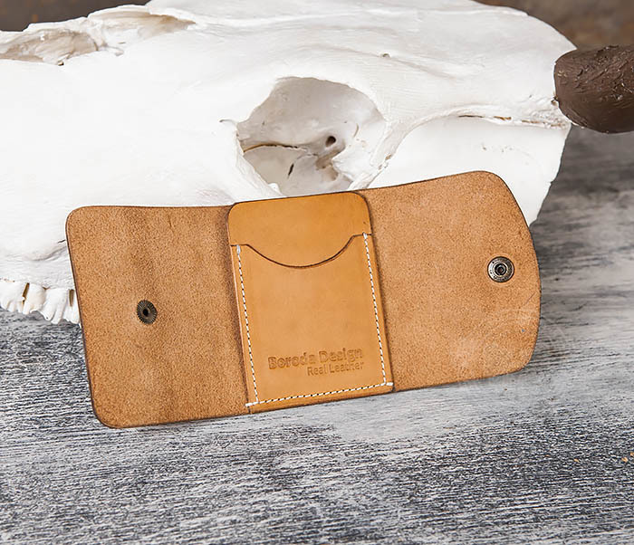 WB166-2 Коричневый кожаный маленький кошелек ручной работы фото 08