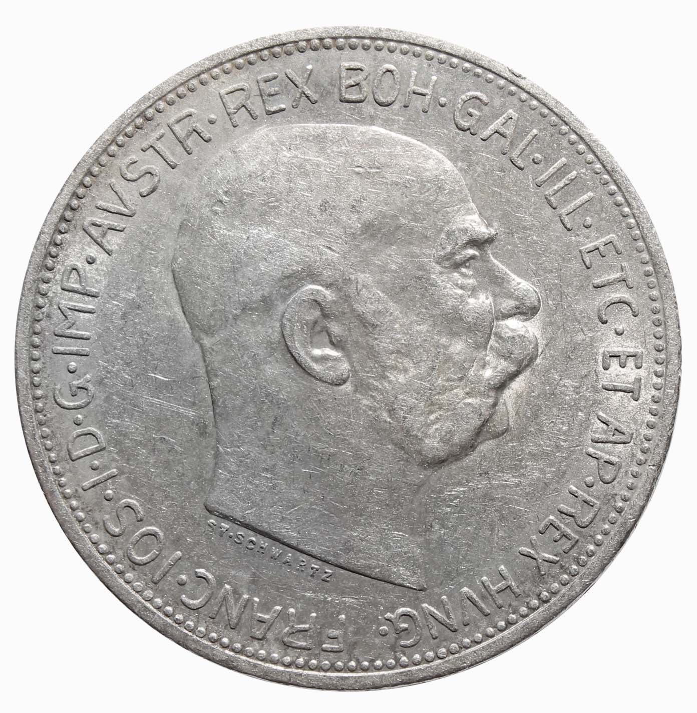 2 кроны 1913. Австрия XF. Серебро