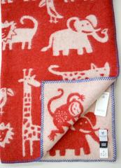Одеяло, KLIPPAN, Джунгли, Эко-шерсть, Красный и белый, 90 х 130 см