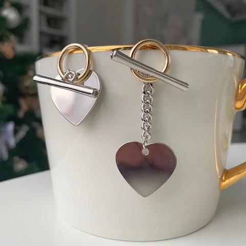 Серьги-подвески асимметричные с сердечками и тоглами (биколор) ш925