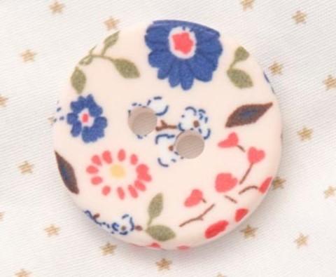 Пуговица с цветочным орнаментом с синими цветами, 28 мм