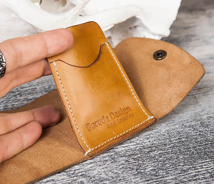 WB166-2 Коричневый кожаный маленький кошелек ручной работы фото 09