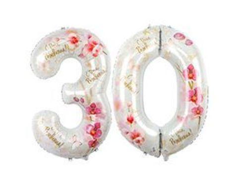 Шары цифры 30 лет Орхидеи
