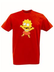 Футболка с принтом мультфильма Симпсоны (The Simpsons) красная 012
