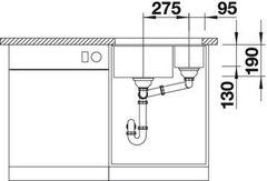 Схема Мойка Blanco Subline 340/160-U (вид спереди)