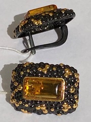 Дельво-черный(серьги  из серебра)