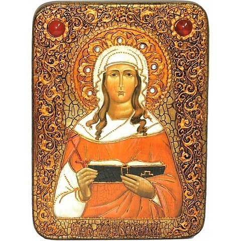 Инкрустированная рукописная икона Святая мученица Валентина Кесарийская 29х21см на натуральном дереве, в подарочной коробке