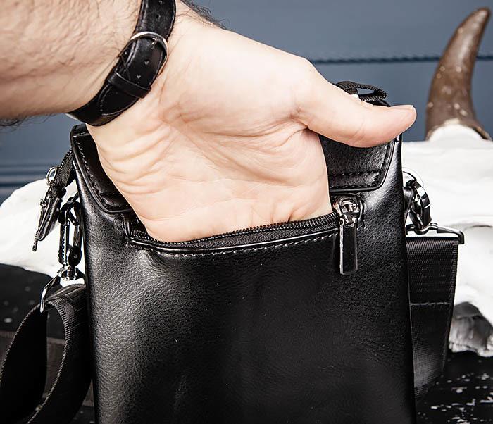 BAG560-1-3 Мужская кожаная сумочка с ручкой и ремнем фото 07