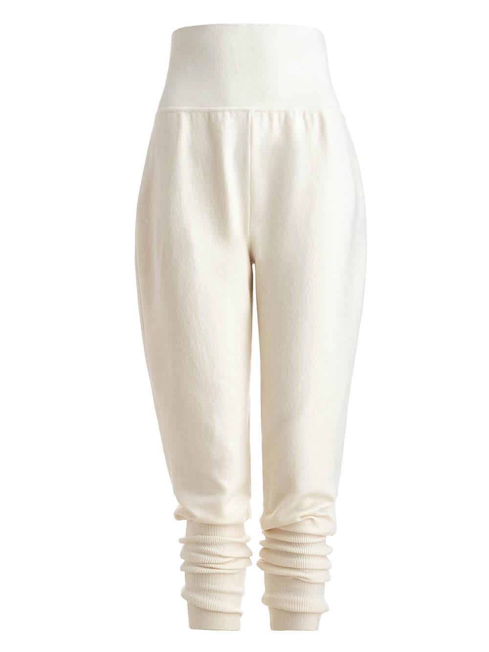 Женские брюки молочного цвета из шерсти - фото 1