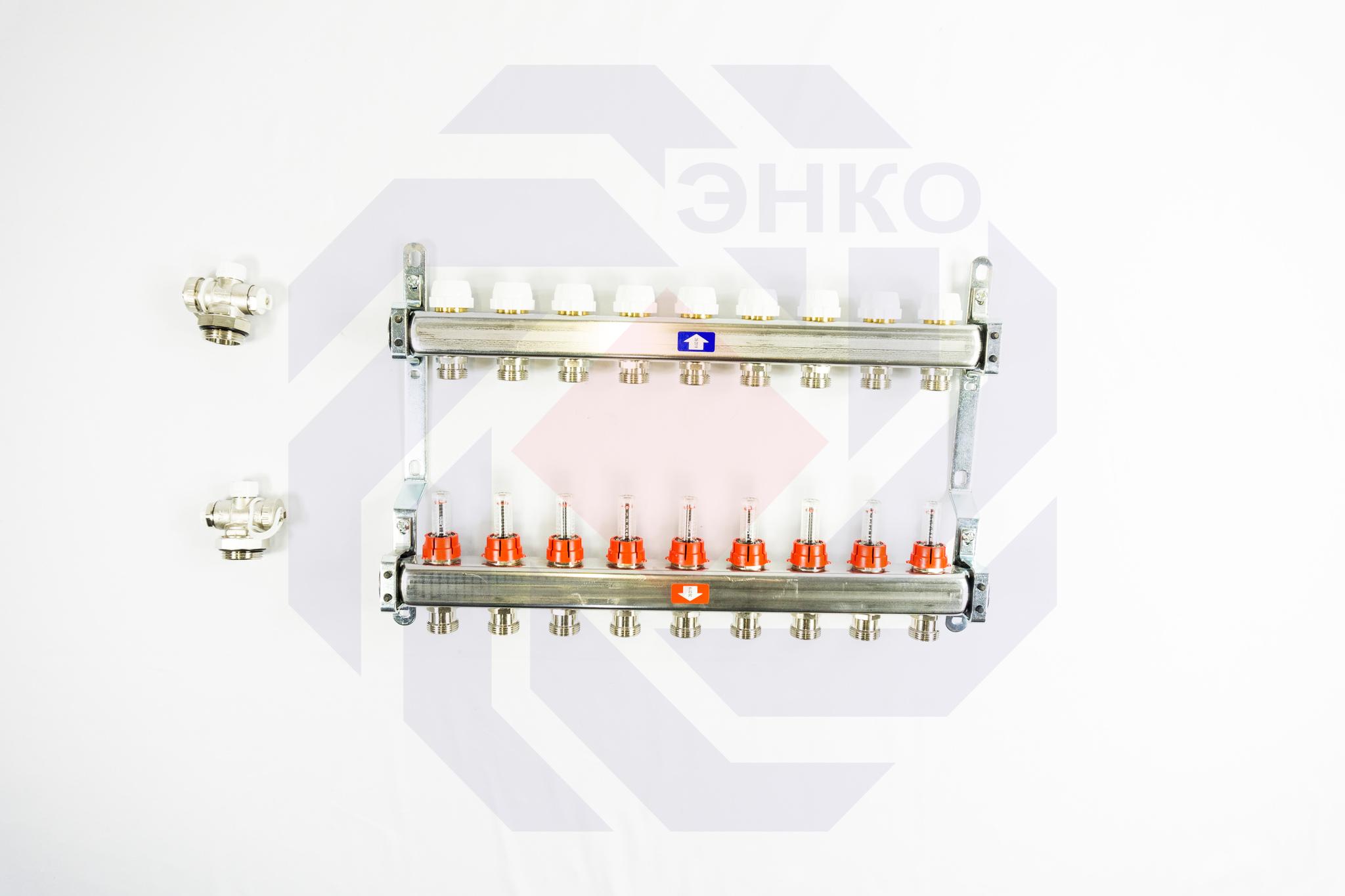 Комплект коллекторов с расходомерами ITAP 918C 9 контуров