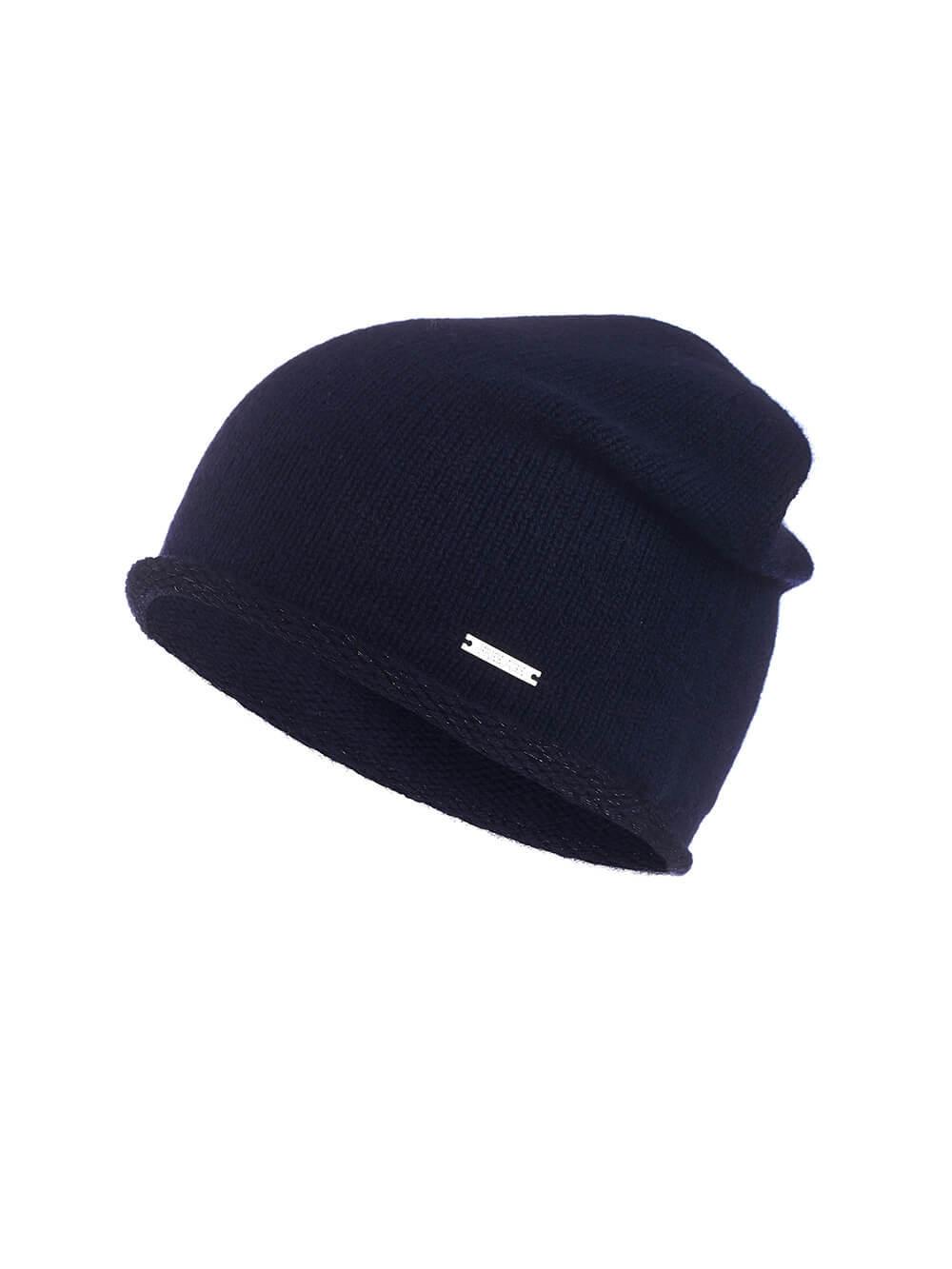 Женская темно-синяя шапка из 100% кашемира - фото 1