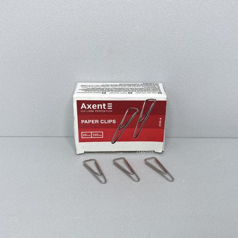 Скрепки Axent 25 мм треугольные с изгибом (100 шт.)