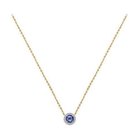 6074001 - Колье из золота с круглой подвеской с бриллиантами и танзанитом