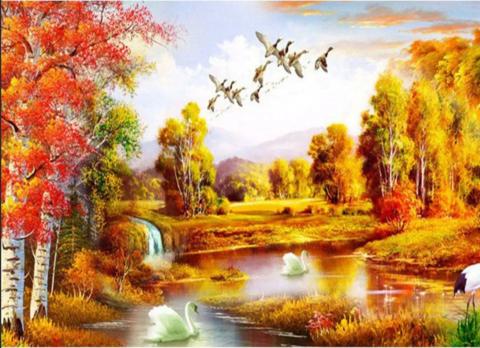 Алмазная Мозаика 50x65 Осенний лес (AGK75060)