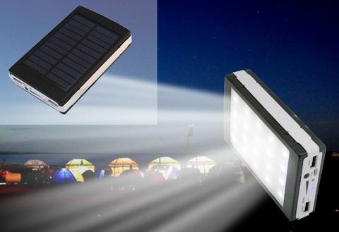 Power Bank Зарядное устройство на солнечных батареях 20000 mah, диодный фонарь